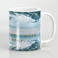 postcard Mugs featuring Mountains Postcard by Darcy Lynn Designs