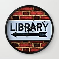 library Wall Clocks featuring Library by Biff Rendar