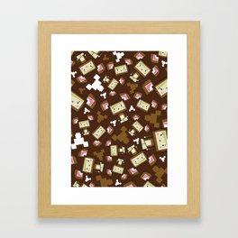 Cute Cartoon Blockimals Bear Framed Art Print