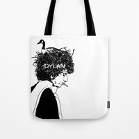 dylan Tote Bags featuring Dylan by Sy Graham