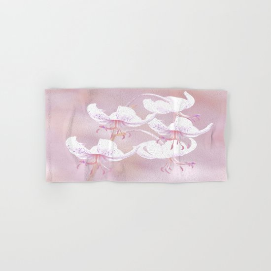 White lilies with pink background Hand & Bath Towel