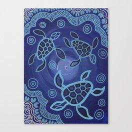Aboriginal Art Authentic - Sea Turtles Canvas Print
