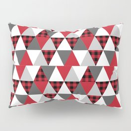 Quilt pattern buffalo check pattern red black and white with grey minimal camping Pillow Sham