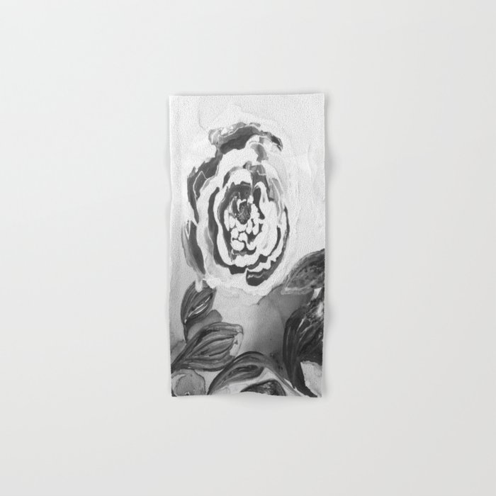 Mother's Day Roses Silver Year Black and White Hand & Bath Towel