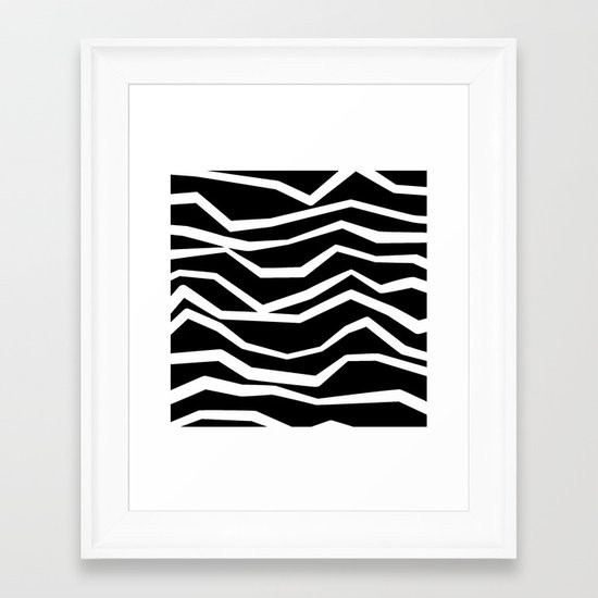 Wavy zig zag lines edgy black and white Framed Art Print