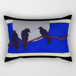 Three Black Birds Rectangular Pillow