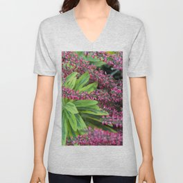 Pink meets Green #1 #floral #foliage #art #society6 Unisex V-Neck