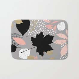 Abstract maple leaves autumn in pink and gray colors Bath Mat