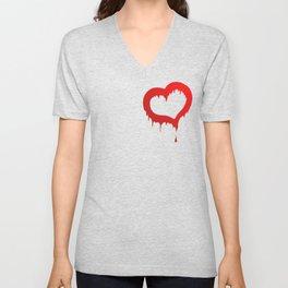 bleeding heart of love Unisex V-Neck