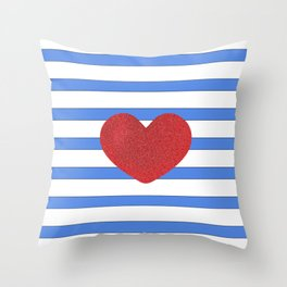 Red Heart and Blue Stripes Throw Pillow