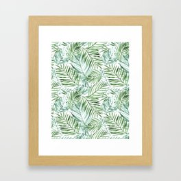 Watercolor palm leaves pattern Framed Art Print