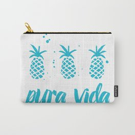 Pura Vida Pineapples in Blue Carry-All Pouch