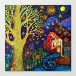 Winter Moon Mermaid Canvas Print