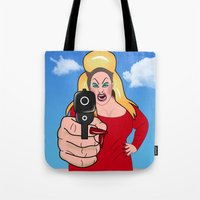 sexy Tote Bags featuring PINK FLAMINGO  by mark ashkenazi