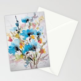 Abstract flowers in blue Stationery Cards