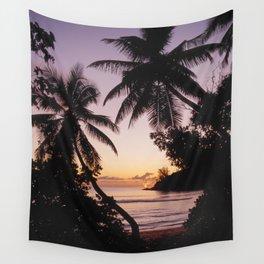 Palm sunset, Praslin, Seychelles Wall Tapestry