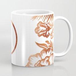 Letter D - Faux Rose Gold Glitter Flowers Coffee Mug