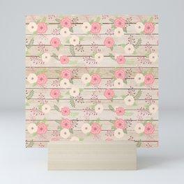 Pink and Cream Roses Pattern Mini Art Print