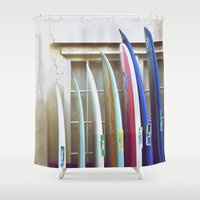 surfboard Shower Curtains featuring surfboard hawaii surfer art by Eyne Photography