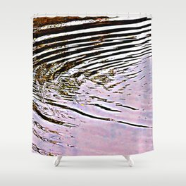 Pink Sky Reflected in Ripples Shower Curtain