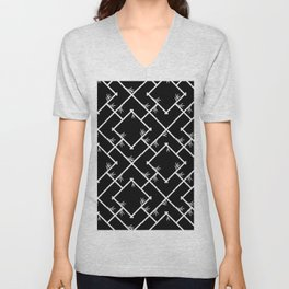 Bamboo Chinoiserie Lattice in Black + White Unisex V-Neck