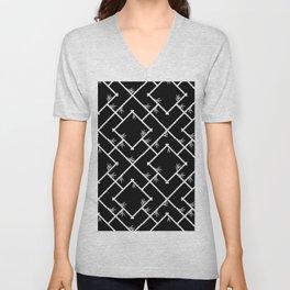 Bamboo Chinoiserie Lattice in Black + White Unisex V-Neck