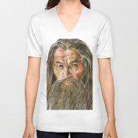 gandalf V-neck T-shirts featuring Gandalf by Labani