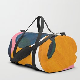 Mid Century Modern Abstract Minimalist Retro Vintage Style Pink Navy Blue Yellow Rollie Pollie Ollie Duffle Bag