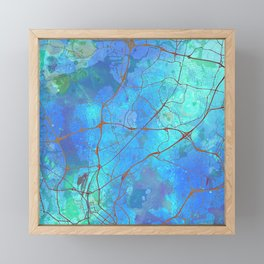 Helsinki Finland Street Map Blue Lagoon Framed Mini Art Print