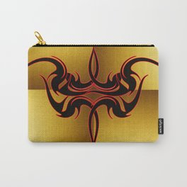 Red and Black Tattoo on Gold Carry-All Pouch