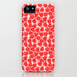 Big Monstera Tropical Leaf Hawaii Rain Forest Red on White iPhone Case