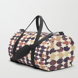 geometric square and circle pattern abstract in brown Duffle Bag