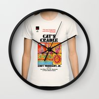 vonnegut Wall Clocks featuring Vonnegut - Cat's Cradle by Neon Wildlife