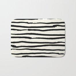 Tribal Stripes Black Earth on Ivory Cream Bath Mat