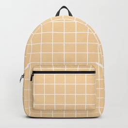 Tuscan - pink color -  White Lines Grid Pattern Backpack