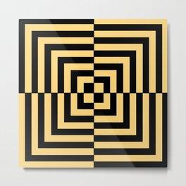 Graphic Geometric Pattern Minimal 2 Tone Illusion Squares (Golden Yellow & Black) Metal Print