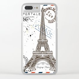Art hand drawn design with Eifel tower. Old postcard style Clear iPhone Case