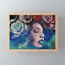 To Our Friends in the Great Blue North   graffiti woman with roses Framed Mini Art Print