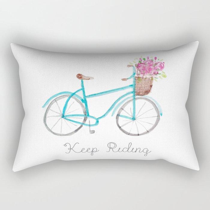 Keep Riding Bike, Watercolor Bike Rectangular Pillow