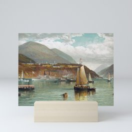 Boats On The Hudson With West Point In The Background - Andrew Melrose Mini Art Print