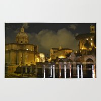 roman Area & Throw Rugs featuring roman ruins by yayanastasia