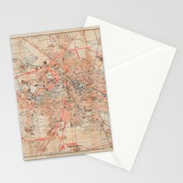 Map Of Berlin 1895 Stationery Cards