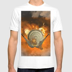 Shield with sword  Mens Fitted Tee White MEDIUM