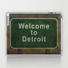 Welcome to Detroit highway road side sign Laptop & iPad Skin