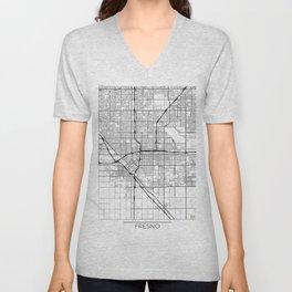 Fresno Map White Unisex V-Neck