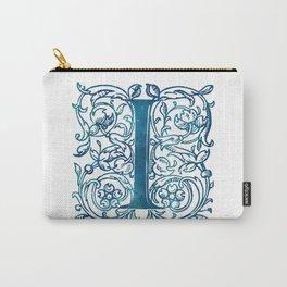 Letter I Antique Floral Letterpress Monogram Carry-All Pouch