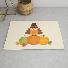 THANKSGIVING OWL IN TURKEY COSTUME ON PUMPKINS Rug