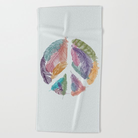 Feathers for Peace (Peace Sign) Beach Towel