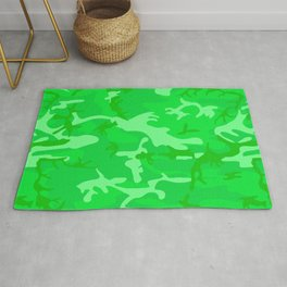 Bright Colorful Green Camo Pattern Rug