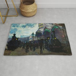 Paris-Saint-Lazare Railroad Station, Paris, France landscape painting by Claude Monet Rug